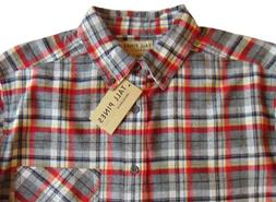 Men's TALL PINES WOOLRICH Gray Red Plaid Flannel Cotton Shir
