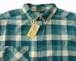 Men's TALL PINES WOOLRICH Green Cream Plaid Flannel Cotton S