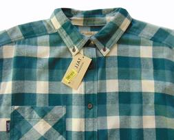 Men's TALL PINES WOOLRICH Green Cream Plaid Flannel Cotton S