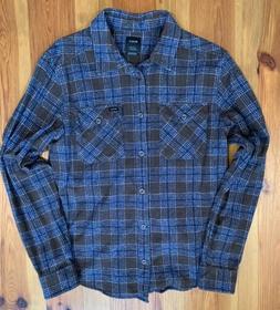 RVCA Men's That'll Work Flannel Long Sleeve Shirt Small Dark