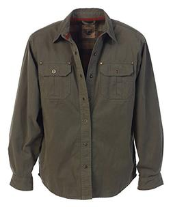 Gioberti Men's Twill Shirt Jacket with Flannel Lining, Olive