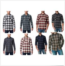men s vintage flannel long sleeve button