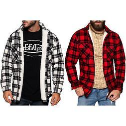 Von Dutch Men's Warm Sherpa Lined Long Sleeve Flannel Shirt
