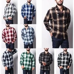 Men's Western Casual Old School Plaid Flannel Long Sleeve Bu