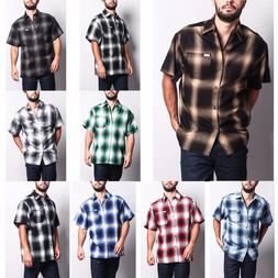 Men's Western Casual Old School Plaid Flannel Short Sleeve B