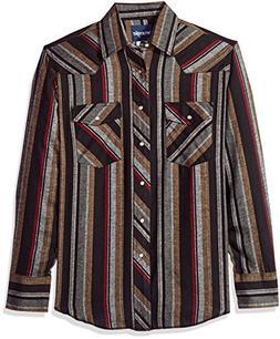 Wrangler Men's Western Flannel Shirt Lightweight , Stripe, L