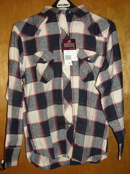 MEN'S WRANGLER WESTERN SHIRTS BLUE RED WHITE PLAID PEARL SNA