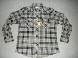 Men's Wrangler Wrancher Flannel Plaid Pearl Snap Size Large