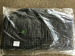 Monster Energy Men's XL Black Gray Flannel Button Down Hunti