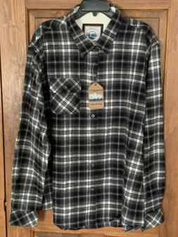 Gioberti Men's XLT Grey~Black~White Flannel Plaid Shirt Fron