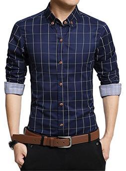 XTAPAN Men Slim Fit Plaid Flannel Fashion Dress Shirt Long S