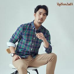 HuLooXuJi Men Spring Autumn <font><b>Flannel</b></font> Plai