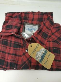 Gioberti Men Western Brushed Flannel Plaid Checkered Shirt w