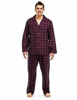 Noble Mount Mens 100% Cotton Flannel Pajama Set with Pant Po