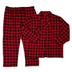 Hanes Mens 2 Piece Red/Black Plaid Flannel Shirt & Pants Paj
