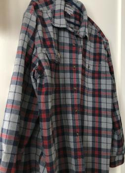 Carhartt Mens 2XL Plaid Heavy Flannel Long Sleeve Button Fro