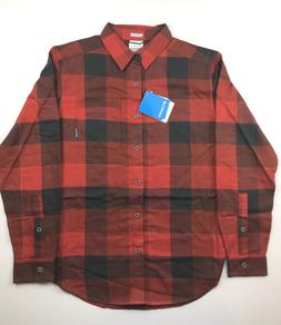 Columbia Mens 2XL Red Black Plaid Boulder Ridge Brushed Flan