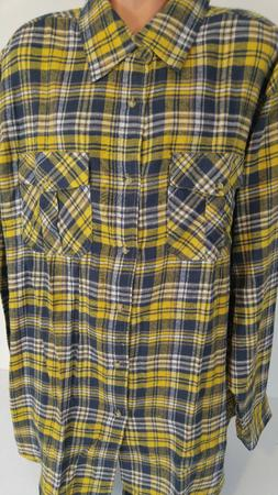 KING SIZE Mens 3XL Tall  Cotton Flannel Shirt Yellow Green P