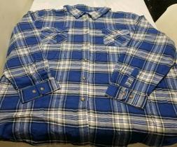 King Size Mens 5XL Flannel Shirt Long Sleeve Blue Plaid