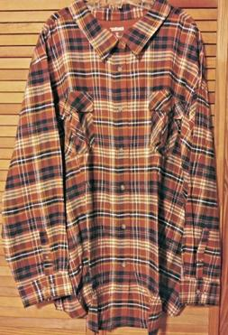 KING SIZE MEN'S 5XL FLANNEL SHIRT PLAID LONG SLEEVES BUTTO