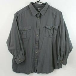 KING SIZE Mens 5XL Long Sleeve Dark Grey Flannel Button Up S