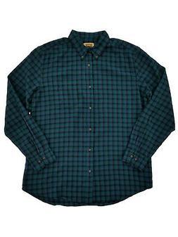 Mens Big & Tall Green Indigo Black Check Flannel Button-Down