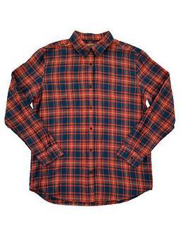 Mens Big & Tall Orange & Blue Plaid Flannel Button-Down Long