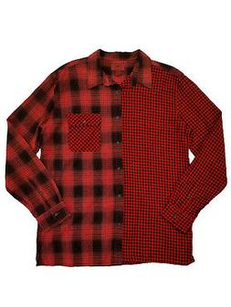 Mens Big & Tall Red Plaid Mashup Flannel Button-Front Long S