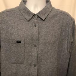 RVCA Men's Black Sand Flannel Sz XL Long Sleeve Shirt Chin