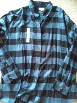 Mens CROFT AND BARROW Blue Flannel Shirt XL Brand New Withou