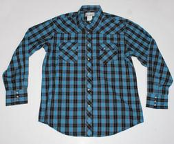 Wrangler Mens Blue Pearl Snap Button Western Shirt Sz L Larg
