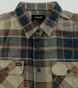 Brixton Mens Bowery L/S Flannel Shirt Cream  Mens Size L Lar