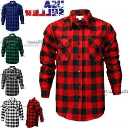 Mens Brawny Buffalo Plaid Flannel Shirt Casual Long Sleeves