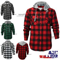 Mens Brawny Buffalo Plaid Flannel Shirt Long Sleeves Button