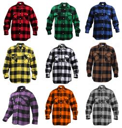 Mens Brawny Buffalo Plaid Flannel Shirt Long Sleeve Heavywei