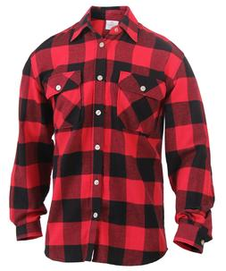 Mens Brawny Red Buffalo Plaid Flannel Shirt Long Sleeve Ligh