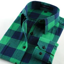 Mens Shirts Button Down Casual Plaid Cotton Flannel Slim Wor