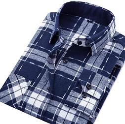 Fulok Mens Casual Checkered Plaid Flannel Long Sleeve Shirt