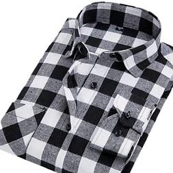 Fulok Mens Casual Checkered Plaid Flannel Long Sleeve Shirts