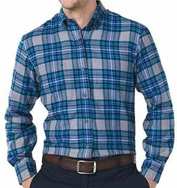 IZOD MENS COTTON BLEND PLAID FLANNEL LS SHIRT HYANNIS LIGHT