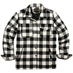 Coofandy Mens Cotton Coat Winter Jackets Lined Plaid Shirt J