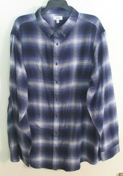 Mens Croft & Barrow L/S Blue/White/Gray Plaid Flannel Shirt,