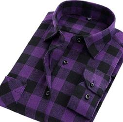 Fulok Mens Fashion Checkered Plaid Flannel Long Sleeve Shirt