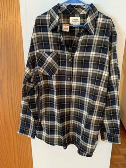 Mens Flannel Blue Newport Plaid Shirt 2Xl Field And Stream N