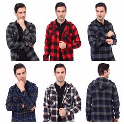 mens flannel hooded buffalo plaid flannel shirt