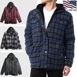 Mens Flannel Jacket Quilted Lined Shirt Hooded Winter Lumber