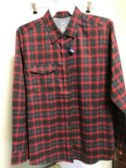 Mens George Flannel Long Sleeve Full Button Plaid Shirt 100%