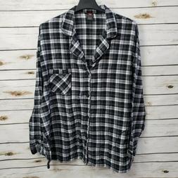 Hanes Men's Flannel Pajama Top Shirt 2XL XXL Black White L