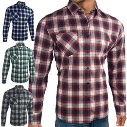 Mens Flannel Shirt Brushed Cotton Long Sleeve Check Lumberja