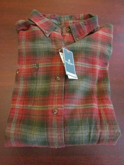 mens G.H. Bass flannel shirt XL nwt rosin gray red plaid